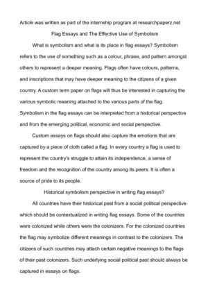 Flag Essays and The Effective Use of Symbolism