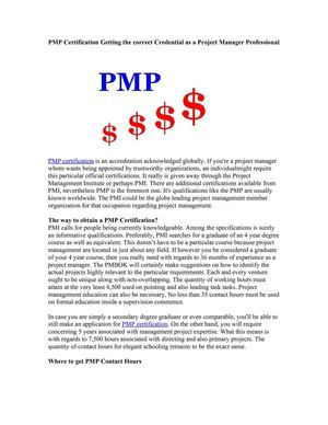 PMP Certification Getting the correct Credential as a Project Manager Professional
