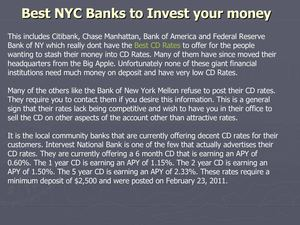 Best NYC Banks to Invest your money