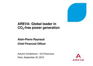 AREVA: Global leader in CO2-free power generation