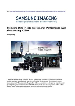 Premium Style Meets Professional Performance with the Samsung NX200