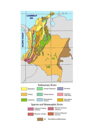 Geological map of Colombia