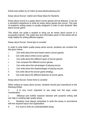 High School Essays Essay About Soccer Useful And Great Ideas For Students English Essay Com also High School Dropout Essay Calamo  Essay About Soccer Useful And Great Ideas For Students Essay In English For Students