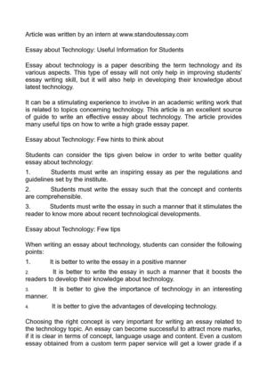 Calamo  Essay About Technology Useful Information For Students Essay About Technology Useful Information For Students