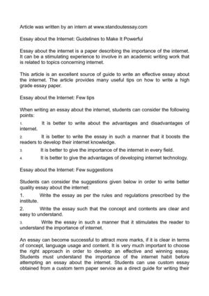 750 Word Essay Example Essay About The Internet Guidelines To Make It Powerful Poem Comparison Essay also Essay Foreign Policy Calamo  Essay About The Internet Guidelines To Make It Powerful Warrior Ethos Essay