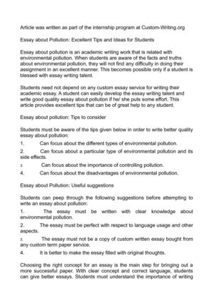 Marriage Essay Papers Essay About Pollution Excellent Tips And Ideas For Students Narrative Essay Examples For High School also Modest Proposal Essay Ideas Calamo  Essay About Pollution Excellent Tips And Ideas For Students Healthcare Essay Topics