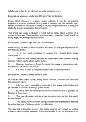 Political Science Essays Essay About Violence Useful And Effective Tips For Students Essay On My School In English also Interesting Essay Topics For High School Students Calamo  Essay About Violence Useful And Effective Tips For Students English Essays Samples