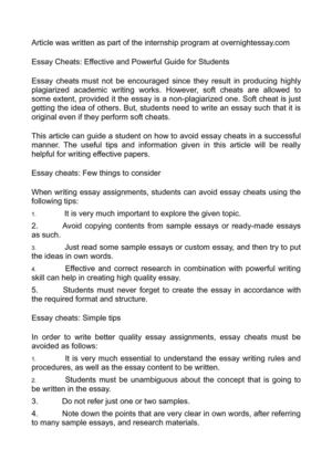 Calamo  Essay Cheats Effective And Powerful Guide For Students Essay Cheats Effective And Powerful Guide For Students Best Essay Topics For High School also Politics And The English Language Essay  What Is The Thesis Statement In The Essay