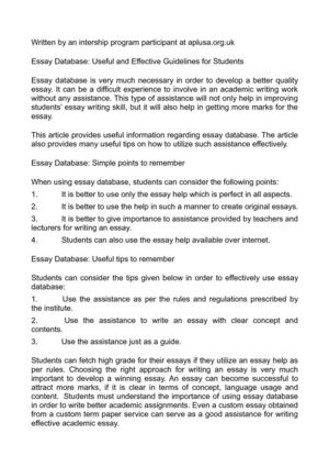 quality experience conceptual essay