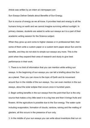 High School Entrance Essay Examples Sun Essays Deliver Details About Benefits Of Sun Energy Graduating From High School Essay also Essay About Healthy Lifestyle Calamo  Sun Essays Deliver Details About Benefits Of Sun Energy Bestwritingservice Com