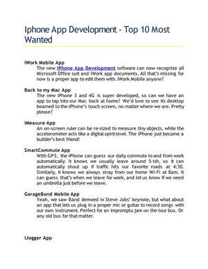 Calaméo - Iphone App Development - Top 10 Most Wanted
