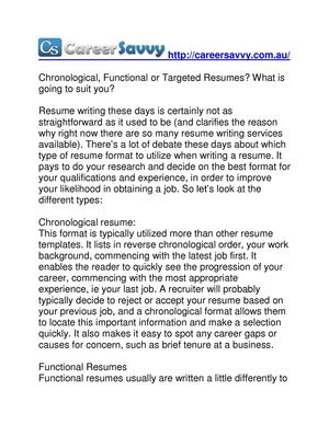 Calameo Chronological Functional Or Targeted Resumes What Is