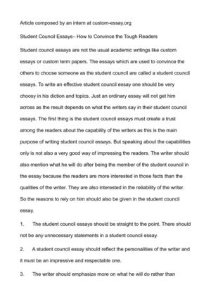Calam o student council essays how to convince the tough readers
