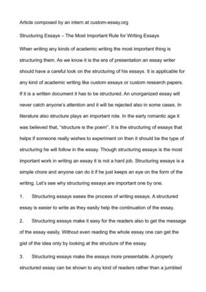 Essay Writing For High School Students Structuring Essays  The Most Important Rule For Writing Essays High School Argumentative Essay Examples also Argumentative Essay Examples For High School Calamo  Structuring Essays  The Most Important Rule For Writing  Sample Essays High School Students