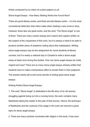 English Essays For Students Stone Angel Essays  How Many Striking Works Are Found Now Professional Business Plan Writers In Cape Town also Essay Sample For High School Calamo  Stone Angel Essays  How Many Striking Works Are Found Now Assignments For Sale