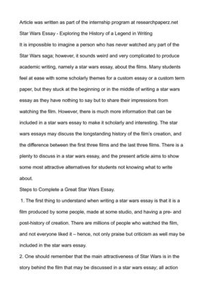 How To Write A Proposal For An Essay Star Wars Essay  Exploring The History Of A Legend In Writing  also Proposal Example Essay Calamo  Star Wars Essay  Exploring The History Of A Legend In Writing Old English Essay