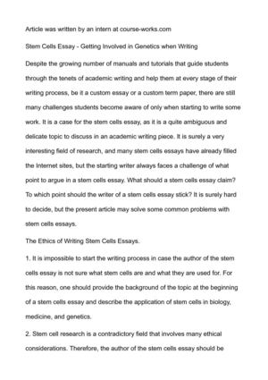 Calamo  Stem Cells Essay  Getting Involved In Genetics When Writing  Essay For Health also Essay Samples For High School  Custom Business Plan