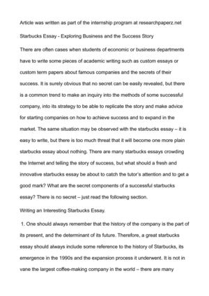Sample Apa Essay Paper  How To Write Essay Proposal also Science Development Essay Calamo  Starbucks Essay  Exploring Business And The Success Story Sample Essay Papers