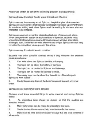 Calamo  Spinoza Essay Excellent Tips To Make It Great And Effective Spinoza Essay Excellent Tips To Make It Great And Effective