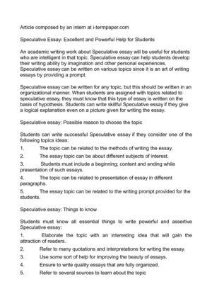 writing a speculative essay