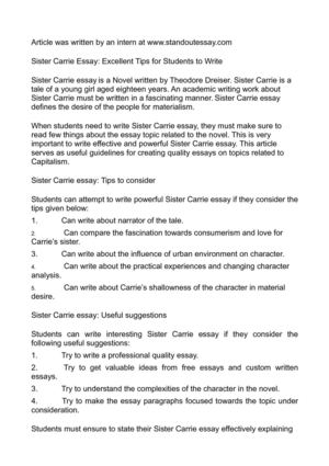 Calaméo - Sister Carrie Essay: Excellent Tips for Students