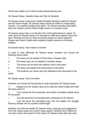 Topic English Essay Sir Gawain Essay Valuable Ideas And Tips For Students Essay Writing High School also Essay On Photosynthesis Calamo  Sir Gawain Essay Valuable Ideas And Tips For Students Modern Science Essay