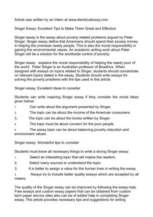 Peter singer poverty essay