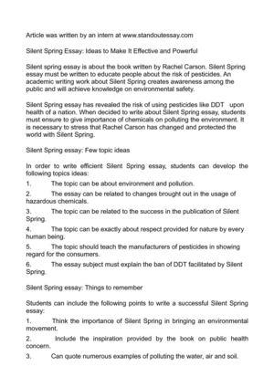 calamo   silent spring essay ideas to make it effective and powerful silent spring essay ideas to make it effective and powerful