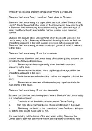 Essay Writing Business Silence Of The Lambs Essay Useful And Great Ideas For Students Examples Of Thesis Statements For Persuasive Essays also English Essay Writer Calamo  Silence Of The Lambs Essay Useful And Great Ideas For  Essays Written By High School Students