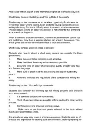 Calamo  Short Essay Contest Guidelines And Tips To Make It Successful Short Essay Contest Guidelines And Tips To Make It Successful