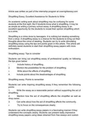 shoplifting essay ideas