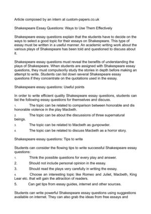 Calamo  Shakespeare Essay Questions Ways To Use Them Effectively Shakespeare Essay Questions Ways To Use Them Effectively Assignment Writing Services In Malaysia also Professional Business Plan Writing Services Uk  Literature Review For Sale