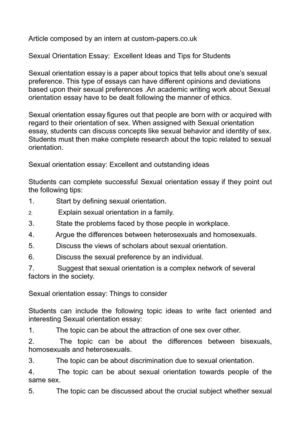 Sexual orientation discrimination essay paper