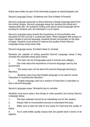 Calamo  Second Language Essay Guidelines And Tips To Make It Powerful Second Language Essay Guidelines And Tips To Make It Powerful