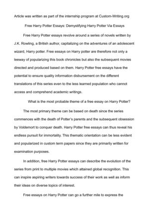 Health Is Wealth Essay Free Harry Potter Essays Demystifying Harry Potter Via Essays Essay English Example also Essay On Business Calamo  Free Harry Potter Essays Demystifying Harry Potter Via Essays Essay About High School