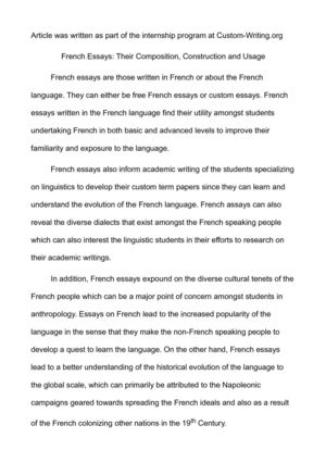 writing an essay in french