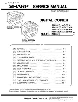 calam o service manual ar 5516 20 rh calameo com sharp printers manual sharp copier manual mx2615
