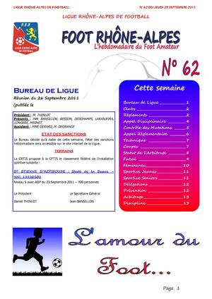 Journal N°62 du Septembre 2011