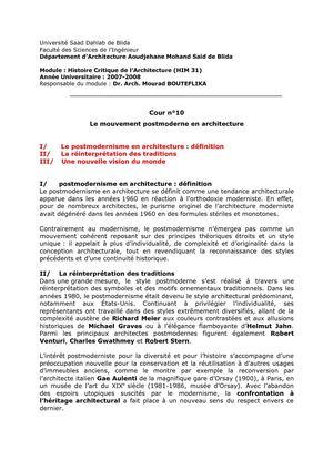 Calaméo Cour N10 Histoire Critique De Larchitecture