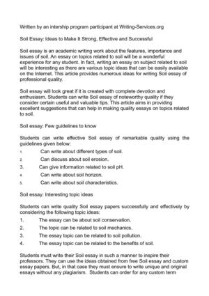 Essays And Term Papers Soil Essay Ideas To Make It Strong Effective And Successful Romeo And Juliet Essay Thesis also Essay On Business Ethics Calamo  Soil Essay Ideas To Make It Strong Effective And Successful Thesis Essay Example