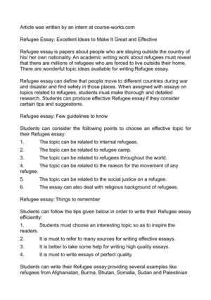 Calamo  Refugee Essay Excellent Ideas To Make It Great And Effective Refugee Essay Excellent Ideas To Make It Great And Effective