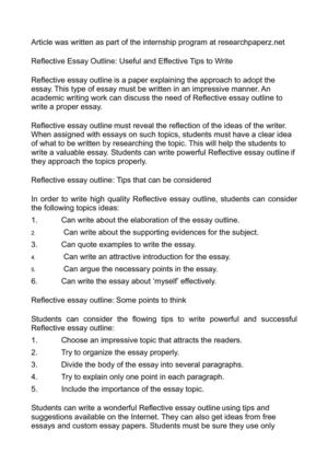 Calam o reflective essay outline useful and effective tips to write