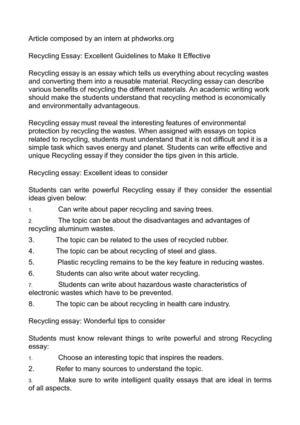 An Essay On Newspaper Recycling Essay Excellent Guidelines To Make It Effective Help Making Business Plan also Statement Writer Calamo  Recycling Essay Excellent Guidelines To Make It Effective Sample Business Essay