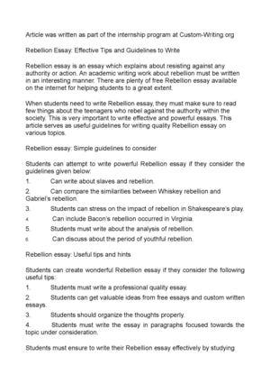 Calamo  Rebellion Essay Effective Tips And Guidelines To Write Rebellion Essay Effective Tips And Guidelines To Write