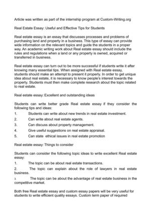 Locavores Synthesis Essay Real Estate Essay Useful And Effective Tips For Students Advanced English Essays also Persuasive Essay Papers Calamo  Real Estate Essay Useful And Effective Tips For Students Literary Essay Thesis Examples