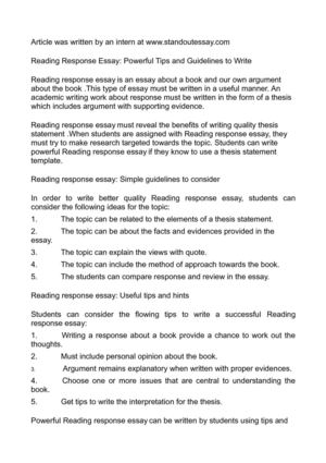 Calamo  Reading Response Essay Powerful Tips And Guidelines To Write Reading Response Essay Powerful Tips And Guidelines To Write