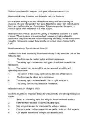 resistance essay excellent and powerful help for students resistance essay excellent and powerful help for students