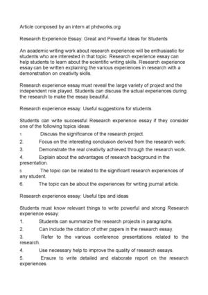 In An Essay What Is A Thesis Statement Research Experience Essay Great And Powerful Ideas For Students Essay About Science And Technology also Business Cycle Essay Calamo  Research Experience Essay Great And Powerful Ideas For  Extended Essay Topics English