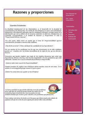 Calaméo - Webquest. Problemas de proporcionalidad