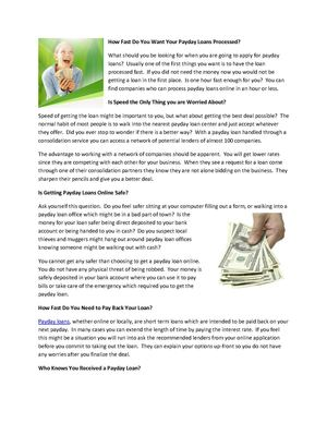 How Fast Do You Want Your Payday Loans Processed